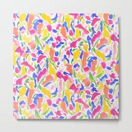 Synthesis Hot Pink Yellow Metal Print