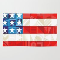 america Area & Throw Rugs featuring America by Fimbis