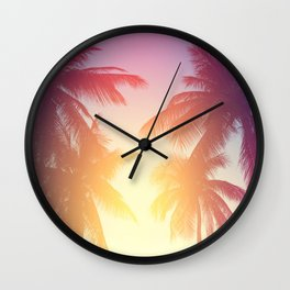 Coconut palm tree at tropical beach, colorful vintage tones Wall Clock