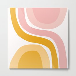 Abstract Shapes 41 in Mustard Yellow and Pale Pink Metal Print