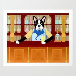 Boston Terrier Beer Pub Art Print