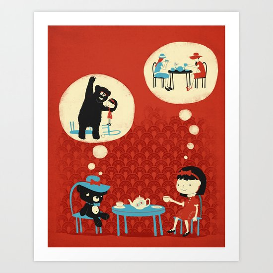 Tea Party with Mr. Cuddles Art Print