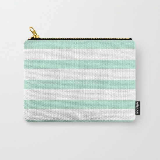 Maritime - Mint green and White stripes-horizontal Carry-All Pouch