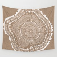 tree rings Wall Tapestries featuring Tree Rings – White Ink on Kraft by Cat Coquillette