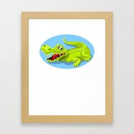 Cartoon Crocodile Vector Design Framed Art Print