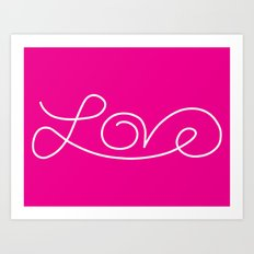 Love calligraphy print - pink background with white Art Print