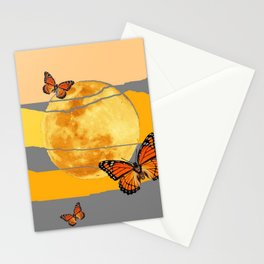 MOON & MONARCH BUTTERFLIES DESERT SKY ABSTRACT ART Stationery Cards