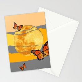 MOON & MONARCH BUTTERFLIES DESERT SKY ABSTRACT ART Stationery Cards