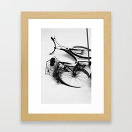 Snow Bicycle Framed Art Print