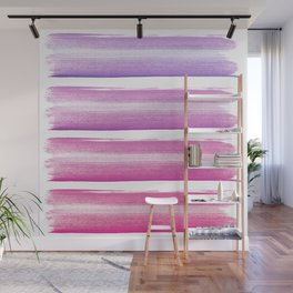 Simply hand painted pink and magenta stripes on white background  2 - Mix and Match Wall Mural
