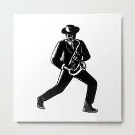 Jazz Musician Playing Sax Woodcut Metal Print
