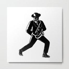 Jazz Musician Playing Sax Woodcut Metal Print