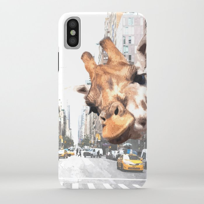 selfie giraffe in new york iphone case