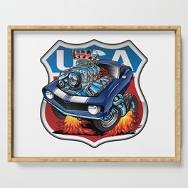USA Classic Muscle Car Pride Cartoon Illustration Serving Tray