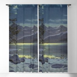 Moonlit Lake, Winter landscape painting by Ivan Fedorovich Choultsé Blackout Curtain