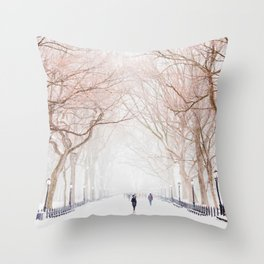 The Tree Path in Snow (Color) Throw Pillow