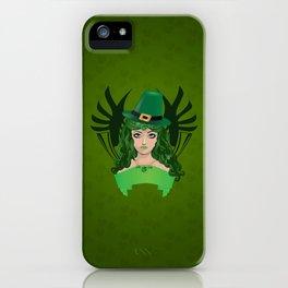 Leprechaun lady in green hat iPhone Case