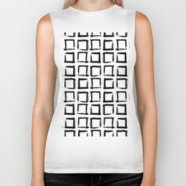 Scandinavian Abstract geometric pattern, paint strokes, grid, black on white background Biker Tank