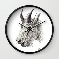 goat Wall Clocks featuring Goat by Ursula Rodgers