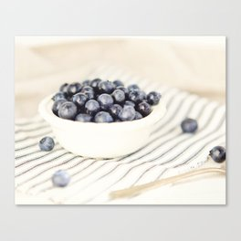 Scalloped Cup Full of Blueberries - Kitchen Decor Canvas Print