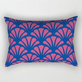 Navy and Fuchsia Deco Fan Rectangular Pillow