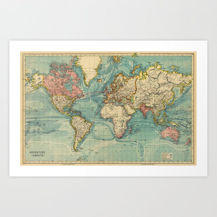 Adventure awaits world map art print by hipster society6 adventure awaits world map art print gumiabroncs Image collections