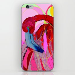 Contemporary Abstracted Tropical Flamingo Art iPhone Skin