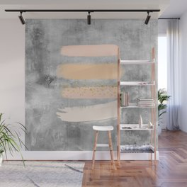 Pastel Stripes on Concrete Wall Mural