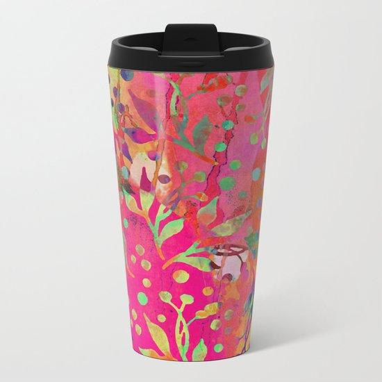 Tropical Summer colorful botanical pattern Metal Travel Mug