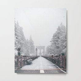 New York City and Brooklyn Bridge Winter/Christmas Metal Print