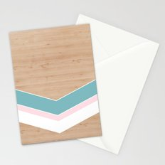 wooden geometric pink and blue Stationery Cards