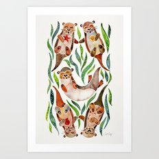 Five Otters – Green Seaweed Art Print
