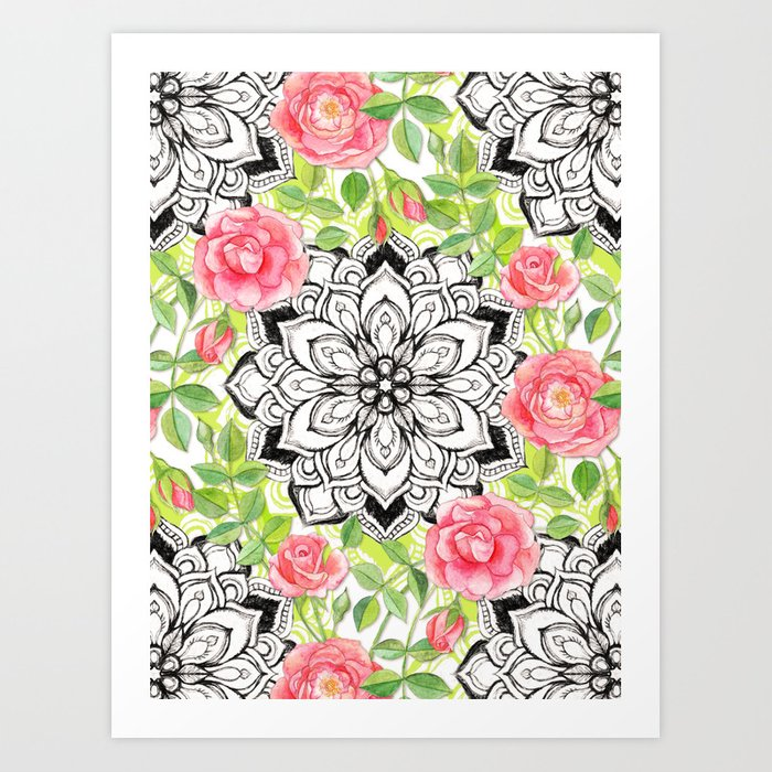 Peach Pink Roses and Mandalas on Lime Green and White Art Print