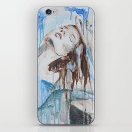 """""""Morning by the ocean"""" original blue painting with woman iPhone Skin"""