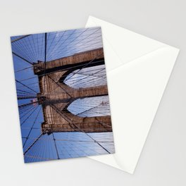 Brooklyn Bridge, the American flag and blue skies Stationery Cards