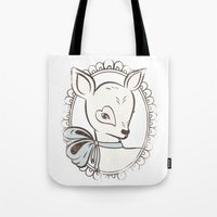 bambi Tote Bags featuring BAMBI by TOO MANY GRAPHIX