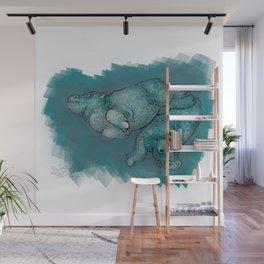 Dancing Hippos Wall Mural