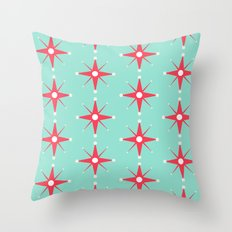 Retro Red Stars Throw Pillow