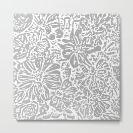 Marigold Lino Cut, Cloud Grey Metal Print