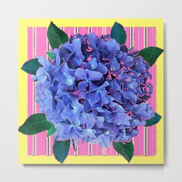 BLUE ABSTRACTED HYDRANGEA YELLOW-PINK Metal Print