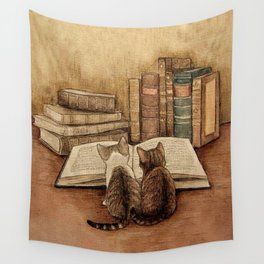Kittens Reading A Book Wall Tapestry