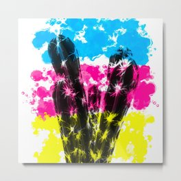 cactus with colorful painting abstract background in blue pink yellow Metal Print