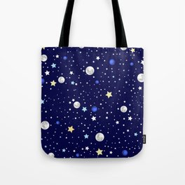 Universe pattern; Moon, Stars and Neptune Tote Bag