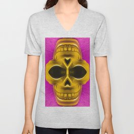 drawing and painting golden skull with pink background Unisex V-Neck