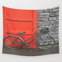 Red Door and Vintage Bicycle  Wall Tapestry