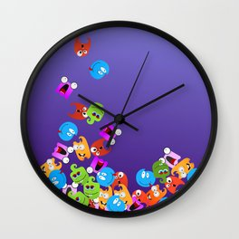 Falling Monsters Wall Clock