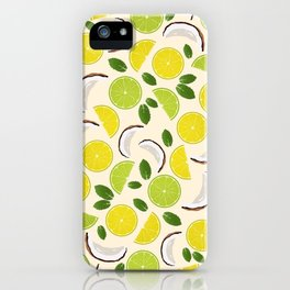 Lime Lemon Coconut Mint pattern iPhone Case