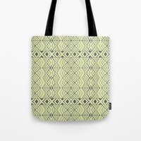 lime green Tote Bags featuring Lime Green Aztec by Pom Graphic Design