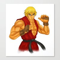 street fighter Canvas Prints featuring Ken Street Fighter by jasonarts