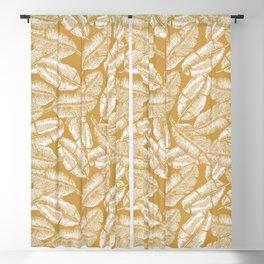Golden Banana Leaves Blackout Curtain